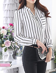 cheap -Women's Formal Plus Size Casual Fall Blouse,Striped Shirt Collar Long Sleeves Medium
