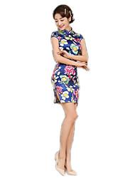 cheap -One-Piece Short Sleeve Medium Length Blue Lolita Dress Polyester