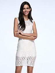 cheap -Women's Bodycon Dress - Solid Colored Lace