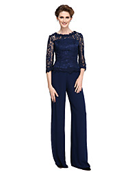 cheap -Sheath / Column Pantsuit Jewel Neck Floor Length Lace Georgette Mother of the Bride Dress with Lace by LAN TING BRIDE®
