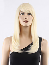 Top Grade Low Price Light Blonde Middle Long Straight With Full Bang Synthetic Wigs Hot Sale.