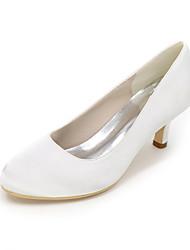 baratos -Mulheres Sapatos Cetim Primavera Verão Plataforma Básica Sapatos De Casamento Nulo Salto Agulha Ponta Redonda Nulo / Drapeado Lateral para