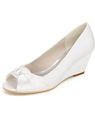 baratos -Mulheres Sapatos Seda Primavera / Verão / Outono Saltos Salto Plataforma Fru-Fru Dourado / Champanhe / Ivory / Casamento / Festas & Noite