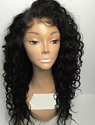 abordables -Cabello humano Encaje Completo Peluca Kinky Curly Peluca Entradas Naturales / Peluca afroamericana / Atado 100 % a mano Mujer Corta / Media Pelucas de Cabello Natural / Kinky rizado