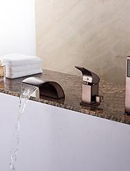 abordables -Grifo de bañera - Clásico Arte Decorativa / Retro Modern Bronce Aceitado Bañera romana Válvula Cerámica