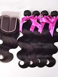 cheap -4x4'' Lace Closure With Bundles Peruvian Virgin Hair Body wave Unprocessed Human Hair 3 Bundles with Lace Closure
