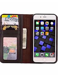 abordables -Coque Pour iPhone 7 Apple iPhone 7 Plus iPhone 7 Porte Carte Portefeuille Avec Support Clapet Coque Intégrale Couleur unie Flexible faux