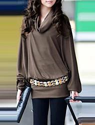 Tee-shirt Femme,Couleur Pleine Décontracté / Quotidien simple Chic de Rue Printemps Automne Hiver Manches Longues Marron Gris Coton Autres