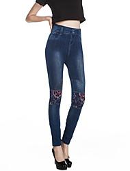 preiswerte -Damen Mittel Baumwolle Jeans Bedruckt Legging, Blau