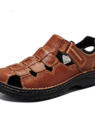 cheap -Men's Shoes Leather Summer Sandals For Casual Black Brown