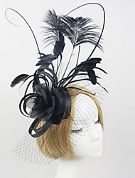 cheap -Tulle Lace Feather Fabric Net Headbands Fascinators Headpiece