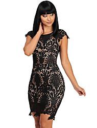 Damen Bodycon Kleid-Klub Sexy Solide Rundhalsausschnitt Mini Kurzarm Schwarz Polyester / Elasthan Sommer Hohe Hüfthöhe Mikro-elastisch