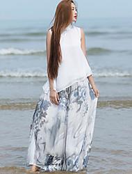 Ramie Cotton Women's Wide Leg Print Gray Wide Leg PantsChinoiserie Summer