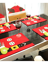 1Set Desktop Christmas Decoration Table Mats 45Cm*33CmKnives And Forks Bag