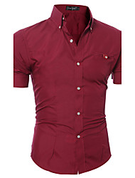 cheap -Men's Solid Casual Formal ShirtCotton / Polyester Short Sleeve Black / Blue / Brown / Pink / Purple / Red / White / Gray