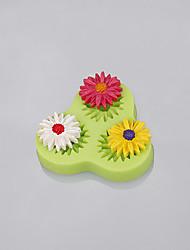 La muffa all'ingrosso del fondente del silicone di forma del gerbera del fiore di 3cavity per la torta che decorano il colore casuale