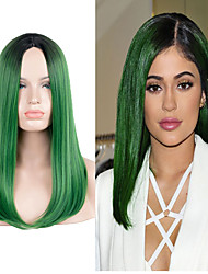 Недорогие -Парики из искусственных волос Прямой Стиль Парик Зеленый Искусственные волосы Зеленый Парик Длинные Очень длинный