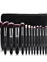 cheap -15Pcs Wool Rose Gold Makeup Brush Sets Professional Makeup Brush With PU Leather Case