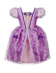 cheap -Girl's Going out Print Dress,Cotton Polyester Summer Short Sleeve Bow Dresswear Purple