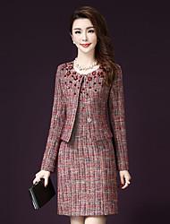 Feminino Conjunto Saia Suits Informal / Tamanhos Grandes Moda de Rua Outono,Xadrez Colorido Acrílico / Poliéster Decote RedondoManga