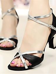 Scarpe da ballo-Personalizzabile-Da donna-Balli latino-americani / Salsa-Tacco su misura-Raso-Argento / Dorato