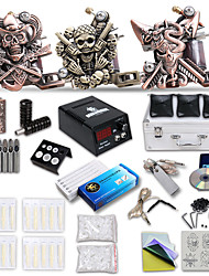 Kit de tatouage complet 3 x Machine à tatouer en fonte pour le traçage et l'ombrage 3 Machines de tatouage LCD alimentationEncres