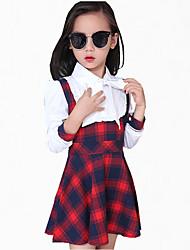 Vestito Girl Casual Scozzese Cotone Per tutte le stagioni / Primavera / Autunno Nero