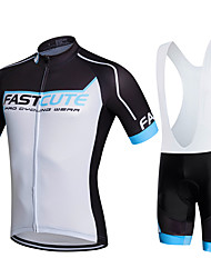 cheap -Fastcute Men's Women's Short Sleeves Cycling Jersey with Bib Shorts - Black Bike Bib Shorts Bib Tights Jersey Clothing Suits, 3D Pad,