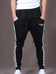 economico -Pantaloni della tuta Uomo Casual / Attività sportive A strisce Cotone Nero / Blu / Grigio