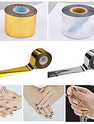1roll 4cmX120m Gold Silver Fashion Nail Art Foils Transfer Craft Polish Nail Stickers Decals DIY