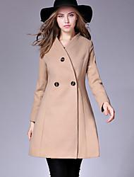 cheap -Women's Basic Chic & Modern Coat-Solid Color,Basic V Neck