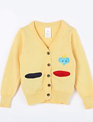 preiswerte -Pullover & Cardigan Alltag Solide Baumwolle Herbst Gelb