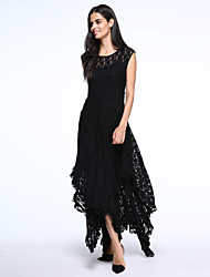 Women's Lace Beach Lace/Skater Dress,Solid Round Neck Maxi Sleeveless Blue/Black Acrylic Spring