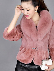 cheap -Women's Daily Wear Elegant & Luxurious Winter Fur Coat,Solid V-neck Long Sleeves Regular Faux Fur