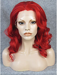 IMSTYLE 16''Red Medium Wave Synthetic Lace Front Wigs High Heat Resistant Fiber