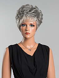 cheap -Women's Human Hair Capless Wigs Curly Side Part Pixie Cut With Bangs Short Grey