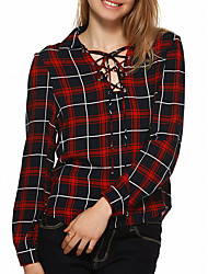 cheap -Women's Cotton Shirt - Plaid V Neck