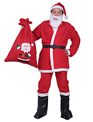 Red Santa Claus With White Beard Cosplay Suits Top Pants Hat Shoe Bag Five sets