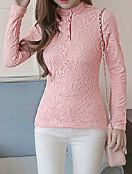 Women's Lace Going out Simple Fall / Winter ShirtSolid Turtleneck Long Sleeve Pink / White / Black Spandex Thick