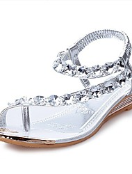 cheap -Women's Shoes PU(Polyurethane) Summer Comfort Sandals Flat Heel Crystal Silver / Golden