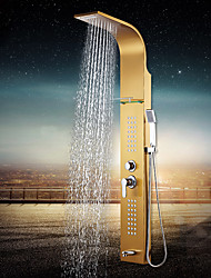 Contemporary Shower System Waterfall Rain Shower Ceramic Valve Three Holes Single Handle Three Holes Ti-PVD , Shower Faucet