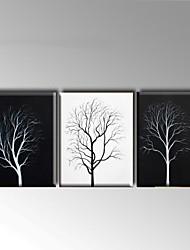 Peint à la main Abstrait / Paysage Peintures à l'huile,Modern / Style européen Trois Panneaux Toile Peinture à l'huile Hang-peint For