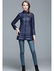 Damen Daunen Mantel,Lang Einfach Lässig/Alltäglich Übergröße Solide-Polyester Weiße Entendaunen Ärmellos