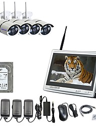 strongshine® 4ch h.264 costruito nel kit NVR hdd wireless da 2 TB con display 12.5inch & ip camera 960p