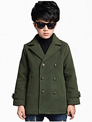 cheap -Boys' Daily Solid Jacket & Coat, Cotton Polyester Winter Spring Fall Long Sleeves Floral Navy Blue Army Green