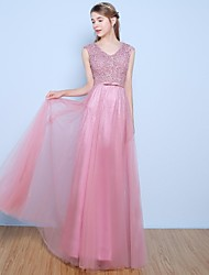 cheap -A-Line V-neck Floor Length Lace Tulle Formal Evening Dress with Beading Bow(s) Pearl Detailing by Yaying