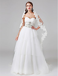 A-Line Princess Sweetheart Court Train Lace Tulle Wedding Dress with Beading Button by LAN TING BRIDE®