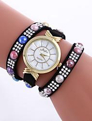 Mulheres Relógio de Moda Bracele Relógio / Quartzo PU Banda Pontos Casual Preta Branco Azul Vermelho Rosa Roxa Cáqui Rose