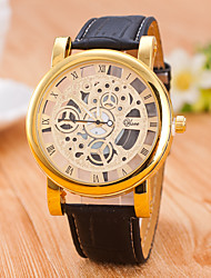 cheap -Men's Skeleton Watch / Mechanical Watch Hot Sale / / PU Band Casual Black / Brown / Jinli 377