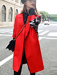cheap -Women's Going out Street chic Coat,Letter Notch Lapel Long Sleeve Fall / Winter Red / Black Wool / Polyester Thick